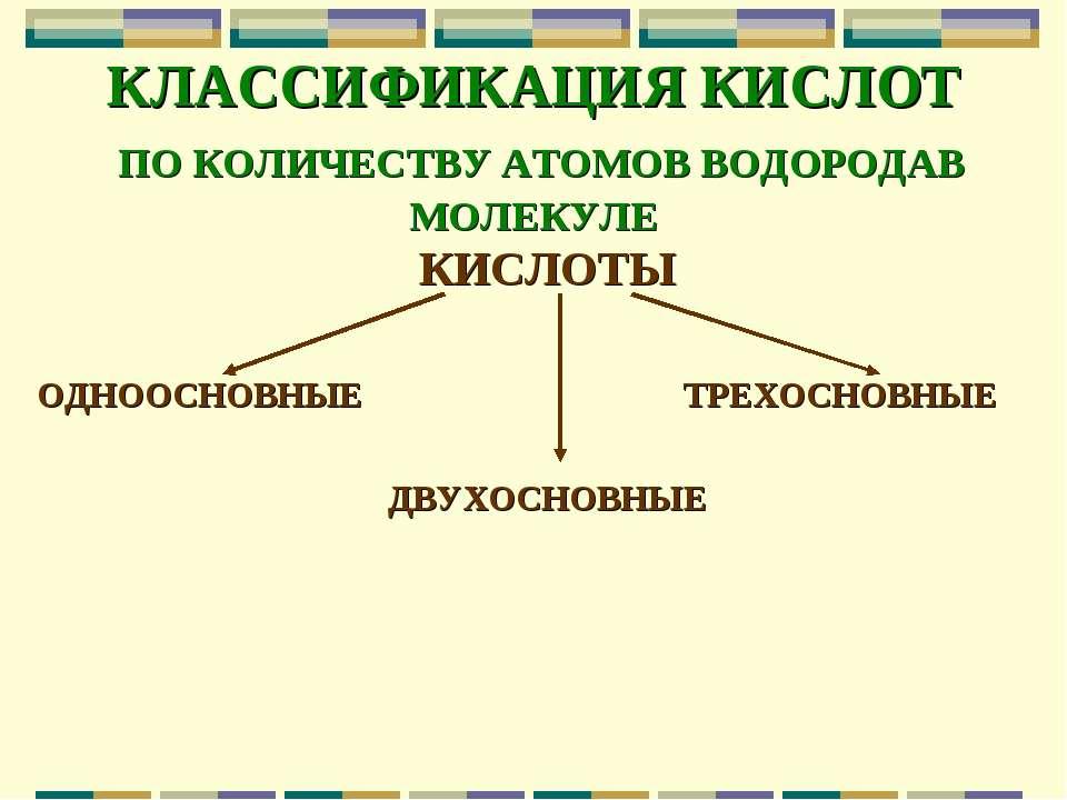 КЛАССИФИКАЦИЯ КИСЛОТ ПО КОЛИЧЕСТВУ АТОМОВ ВОДОРОДАВ МОЛЕКУЛЕ КИСЛОТЫ ОДНООСНО...