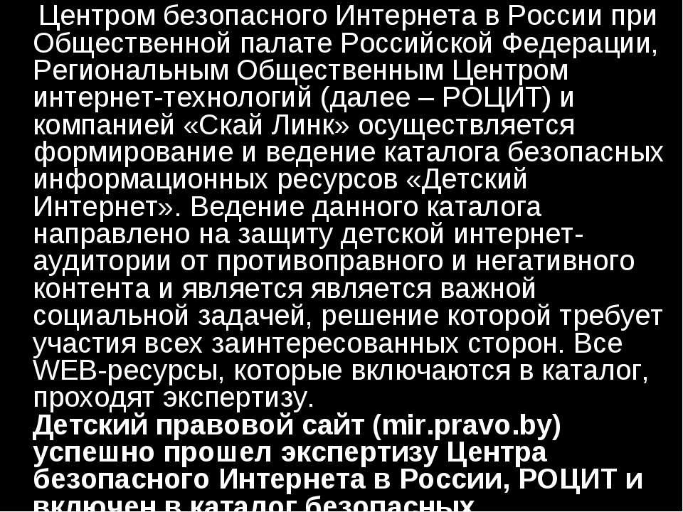 Центром безопасного Интернета в России при Общественной палате Российской Фед...