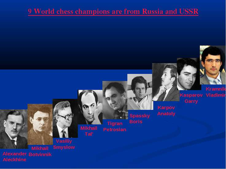 9 World chess champions are from Russia and USSR Alexander Aleckhine Mikhail ...