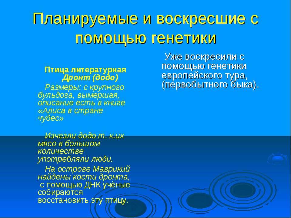 Планируемые и воскресшие с помощью генетики Птица литературная Дронт (додо) Р...