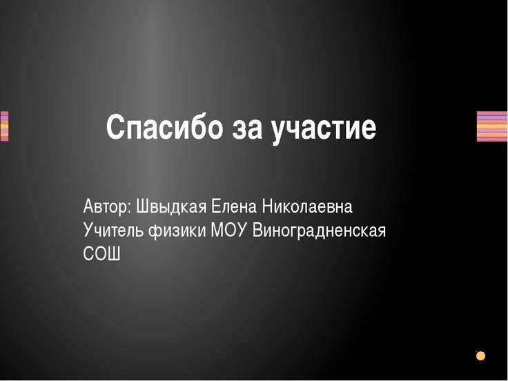 Спасибо за участие Автор: Швыдкая Елена Николаевна Учитель физики МОУ Виногра...