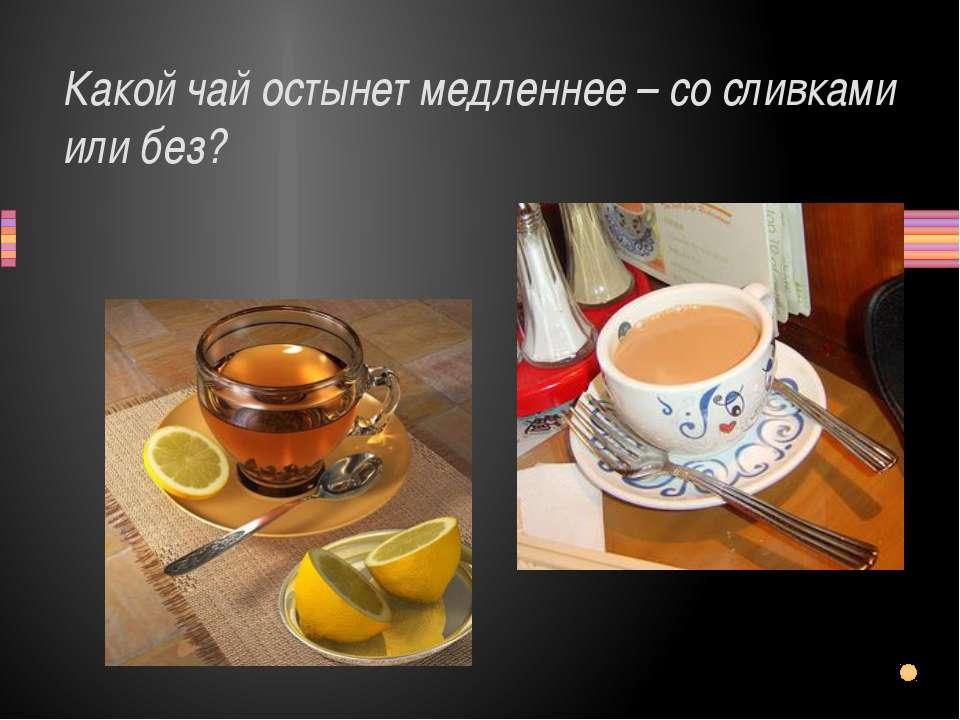 Какой чай остынет медленнее – со сливками или без? Заголовок раздела