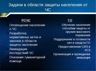 Задачи в области защиты населения от ЧС РСЧС Оповещение населения о ЧС Разраб...