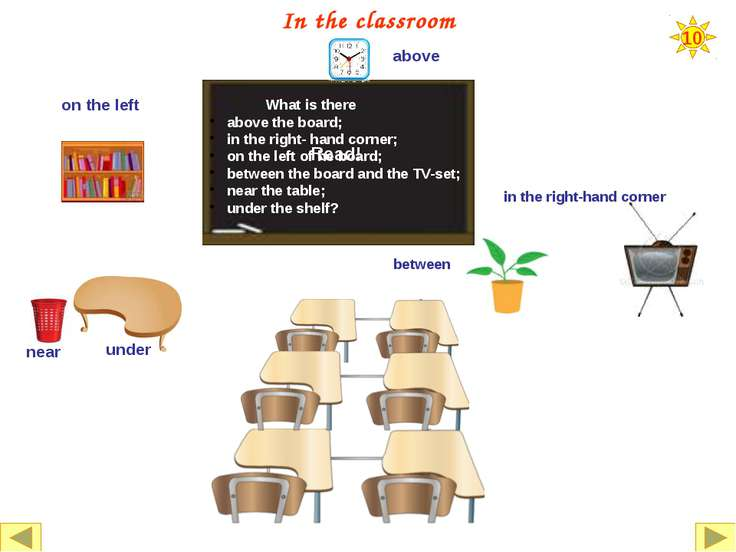 10 In the classroom What is there under the map; above the map; on the desk; ...