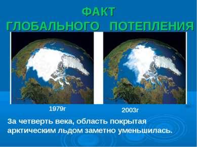ФАКТ ГЛОБАЛЬНОГО ПОТЕПЛЕНИЯ 1979г 2003г За четверть века, область покрытая ар...