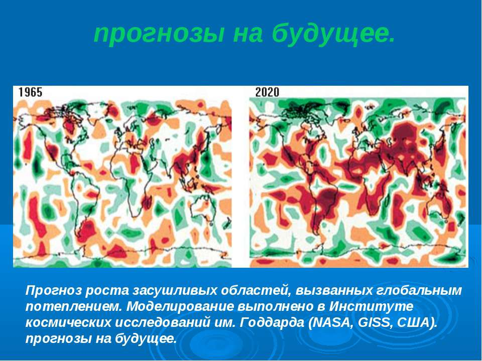 прогнозы на будущее. Прогноз роста засушливых областей, вызванных глобальным ...
