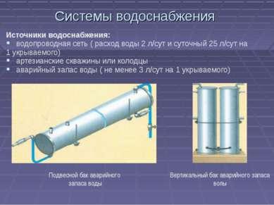 Системы водоснабжения Источники водоснабжения: водопроводная сеть ( расход во...
