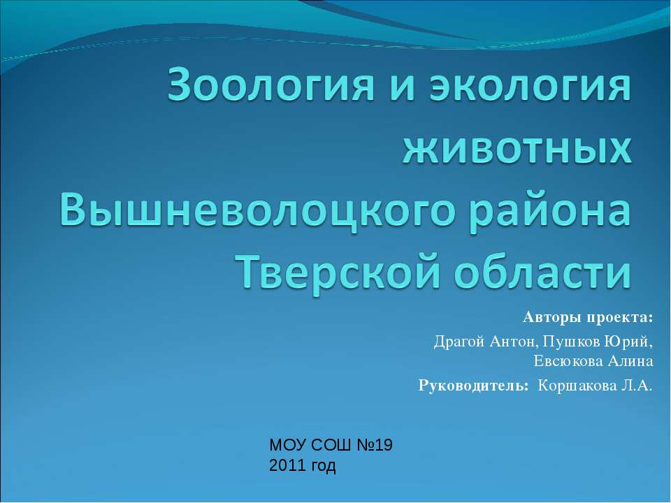 Авторы проекта: Драгой Антон, Пушков Юрий, Евсюкова Алина Руководитель: Корша...