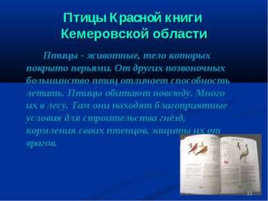 Птицы Красной книги Кемеровской области Птицы - животные, тело которых покрыт...