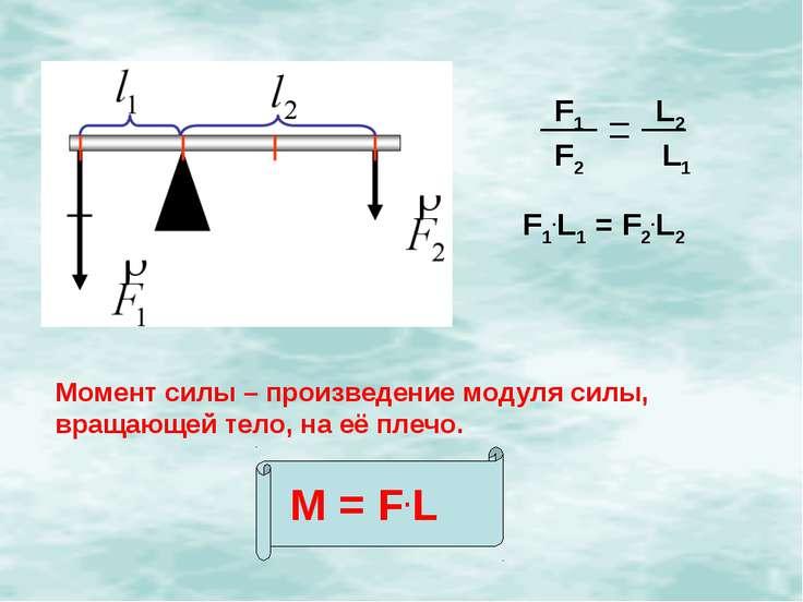 F1.L1 = F2.L2 Момент силы – произведение модуля силы, вращающей тело, на её п...