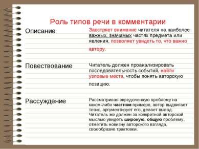 Роль типов речи в комментарии