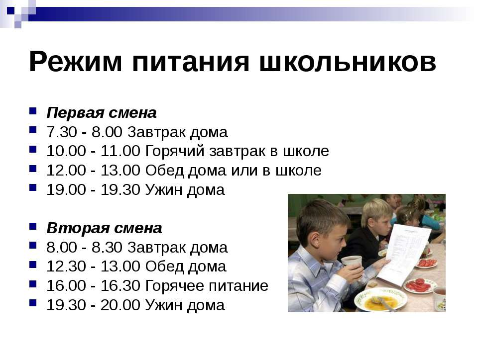 Режим питания школьников Первая смена 7.30 - 8.00 Завтрак дома 10.00 - 11.00 ...