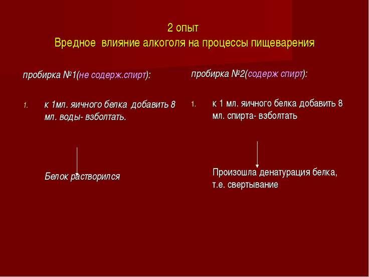 2 опыт Вредное влияние алкоголя на процессы пищеварения пробирка №1(не содерж...