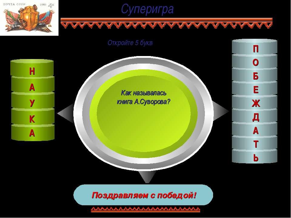 Суперигра Как называлась книга А.Суворова? Поздравляем с победой! К У А Н Е Б...
