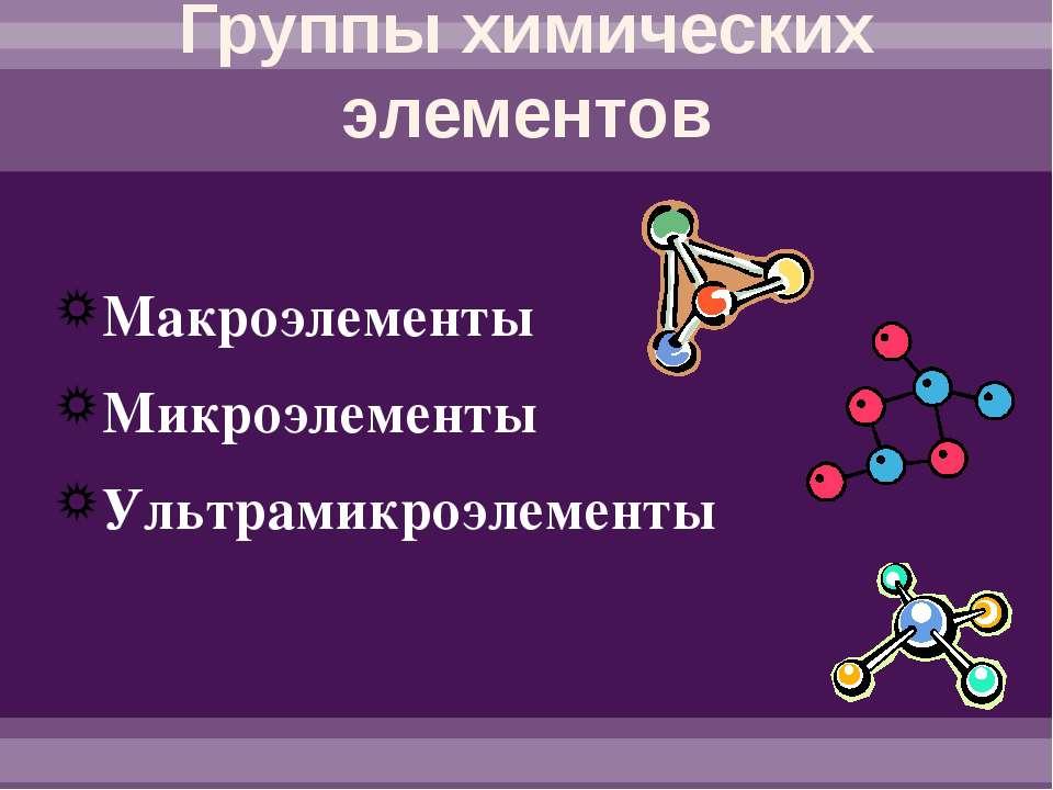 Группы химических элементов Макроэлементы Микроэлементы Ультрамикроэлементы