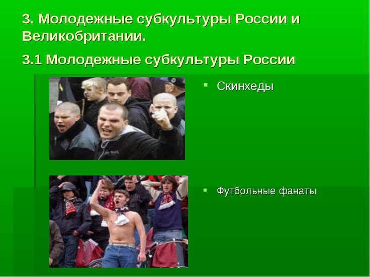 3. Молодежные субкультуры России и Великобритании. 3.1 Молодежные субкультуры...