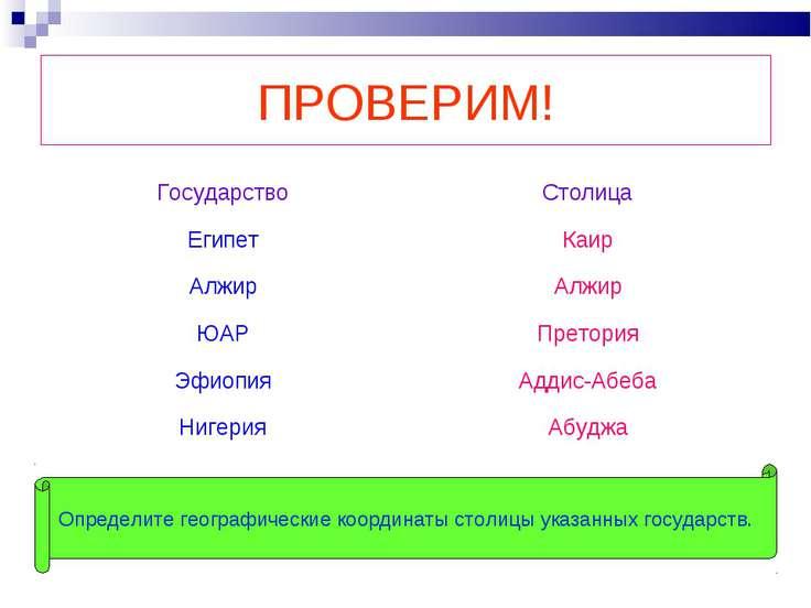 ПРОВЕРИМ! Определите географические координаты столицы указанных государств. ...