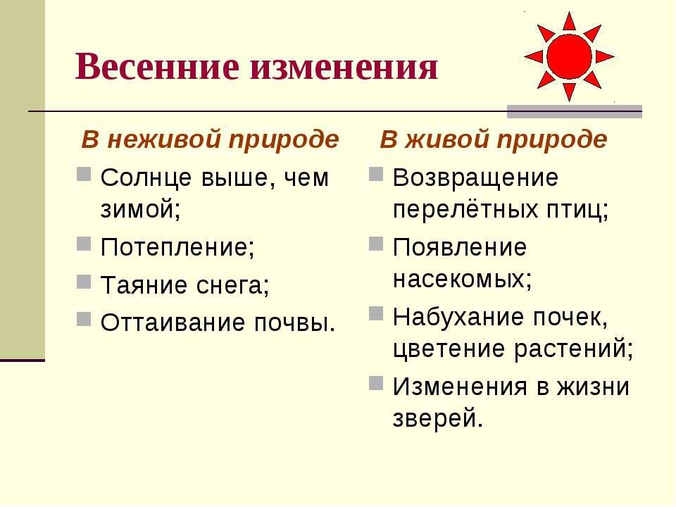Весенние изменения В неживой природе Солнце выше, чем зимой; Потепление; Таян...