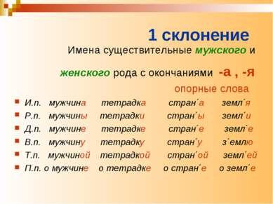 1 склонение Имена существительные мужского и женского рода с окончаниями -а ,...