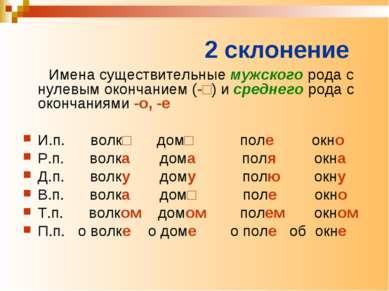 2 склонение Имена существительные мужского рода с нулевым окончанием (-□) и с...