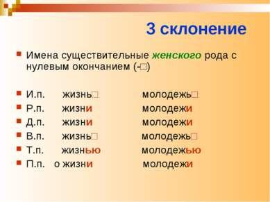 3 склонение Имена существительные женского рода с нулевым окончанием (-□) И.п...