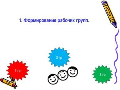 1. Формирование рабочих групп. Делимся на 3 мини – группы. Обратите внимание ...