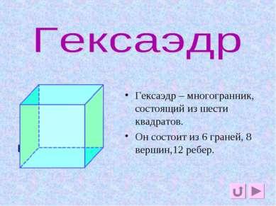 гексаэдр Гексаэдр – многогранник, состоящий из шести квадратов. Он состоит из...
