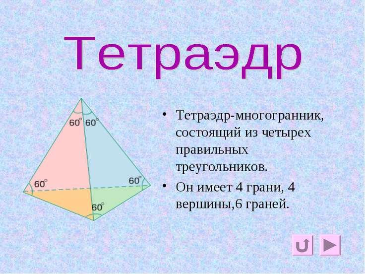 тетраэдр Тетраэдр-многогранник, состоящий из четырех правильных треугольников...