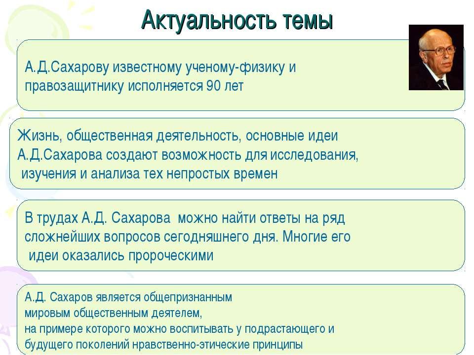 Актуальность темы А.Д.Сахарову известному ученому-физику и правозащитнику исп...