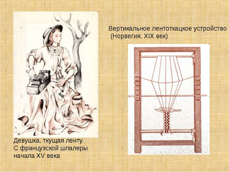 Девушка, ткущая ленту. С французской шпалеры начала XV века Вертикальное лент...