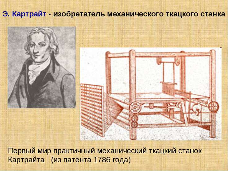Э. Картрайт - изобретатель механического ткацкого станка Первый мир практичны...