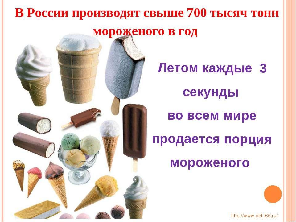 Летом каждые 3 секунды во всем мире продается порция мороженого В России прои...