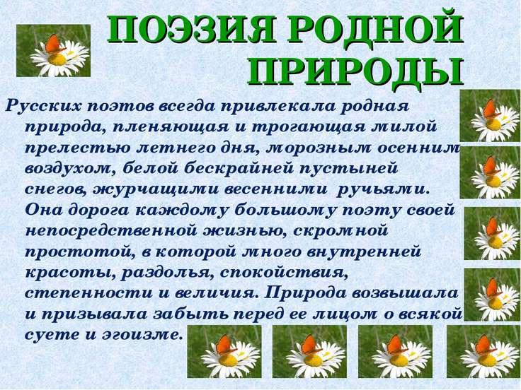 Русских поэтов всегда привлекала родная природа, пленяющая и трогающая милой ...
