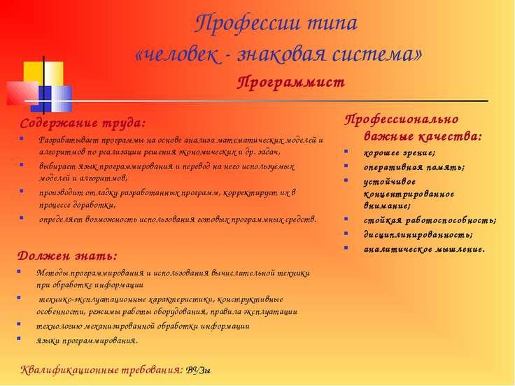 Профессии типа «человек - знаковая система» Программист Содержание труда: Раз...