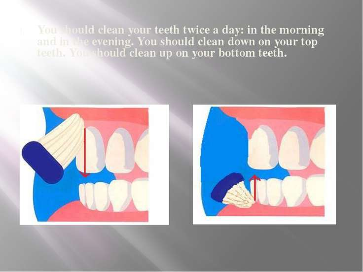 You should clean your teeth twice a day: in the morning and in the evening. Y...