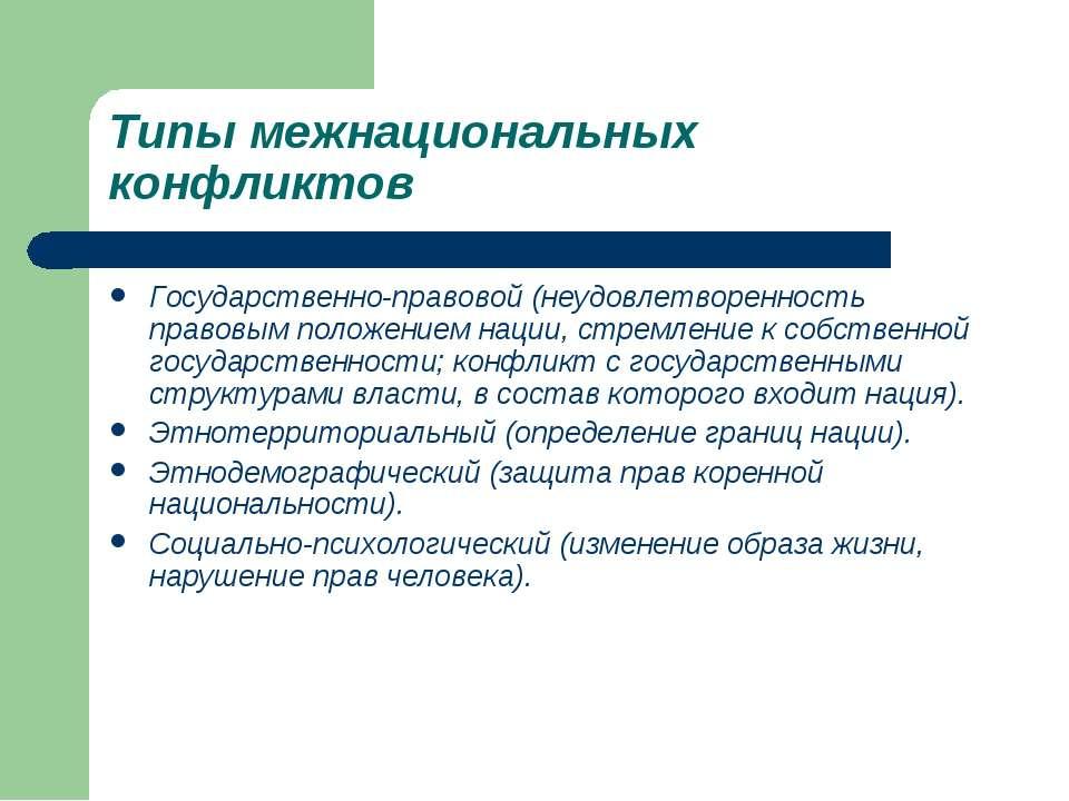 Типы межнациональных конфликтов Государственно-правовой (неудовлетворенность ...