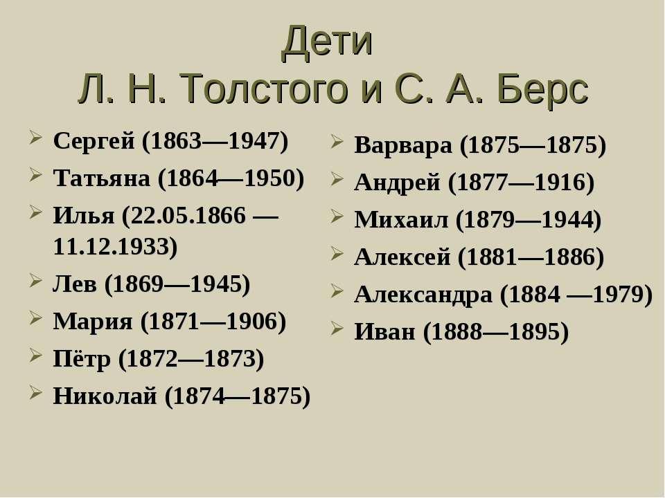 Дети Л. Н. Толстого и С. А. Берс Сергей (1863—1947) Татьяна (1864—1950) Илья ...