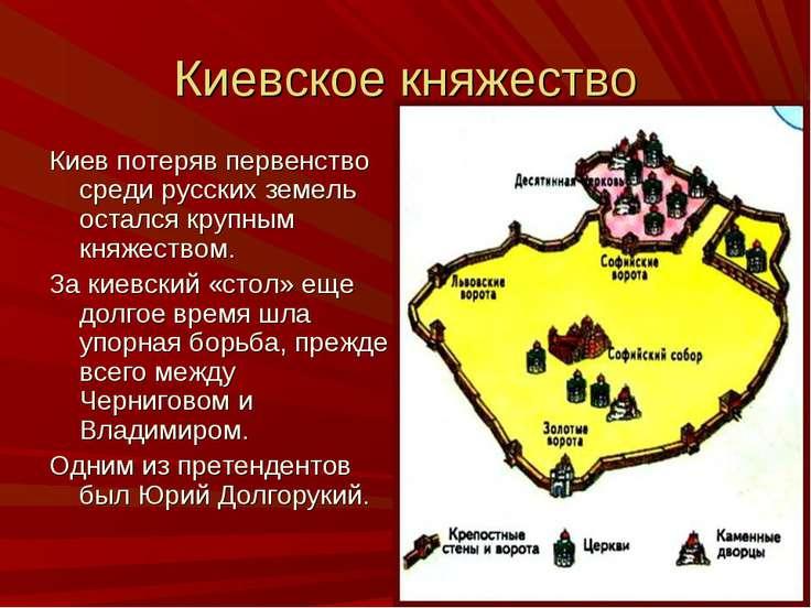 Киевское княжество Киев потеряв первенство среди русских земель остался крупн...