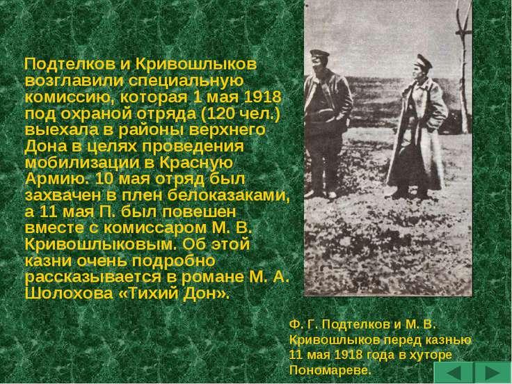 Подтелков и Кривошлыков возглавили специальную комиссию, которая 1 мая 1918 п...