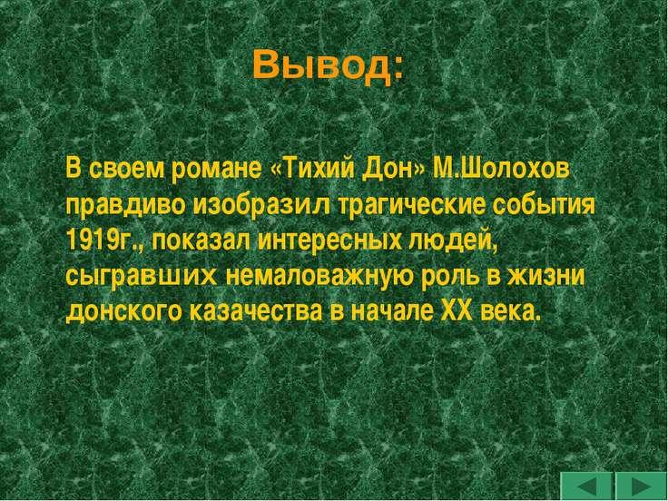 Вывод: В своем романе «Тихий Дон» М.Шолохов правдиво изобразил трагические со...
