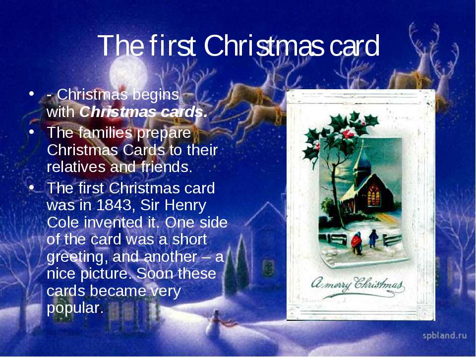 The first Christmas card - Christmas begins with Christmas cards. The familie...