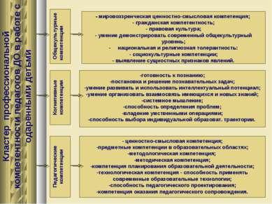 Кластер профессиональной компетентности педагогов ДО в работе с одаренными де...