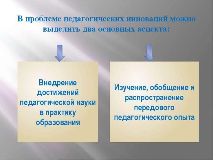 В проблеме педагогических инноваций можно выделить два основных аспекта: Внед...