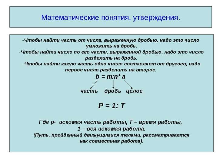Математические понятия, утверждения. -Чтобы найти часть от числа, выраженную ...
