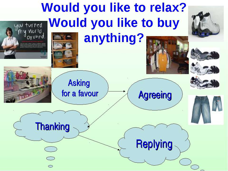 Would you like to relax? Would you like to buy anything? Asking for a favour ...