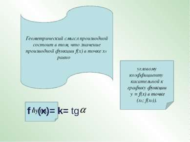Геометрический смысл производной состоит в том, что значение производной функ...