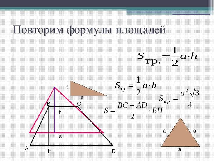 Повторим формулы площадей h a A B C D H a a а b