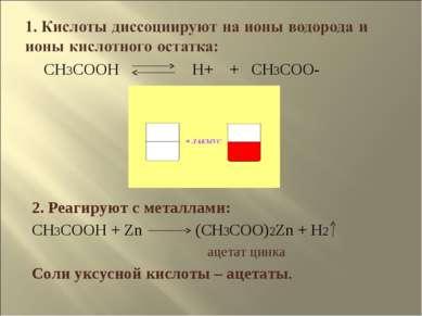 CH3COOH H+ + CH3COO- 2. Реагируют с металлами: CH3COOH + Zn (CH3COO)2Zn + H2 ...