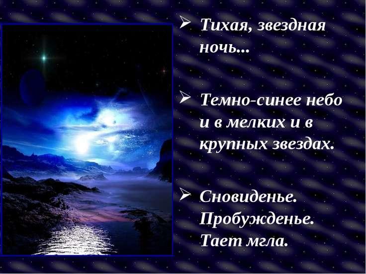 Тихая, звездная ночь... Темно-синее небо и в мелких и в крупных звездах. Снов...