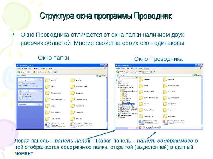 Структура окна программы Проводник Окно Проводника отличается от окна папки н...